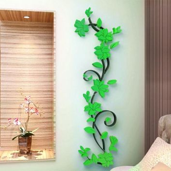 Vinyl Wall Sticker / Decal - Free Shipping - Colorful 3D flowers - Green