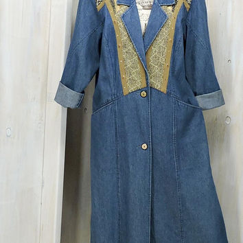 Vintage 80s denim duster coat / M 10 / 12 / long jean coat / Western / Boho / Tapestry / full length denim jacket / City Girl USA