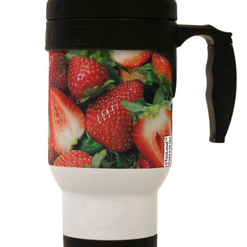 Strawberries All Over Stainless Steel 14oz Travel Mug All Over Print