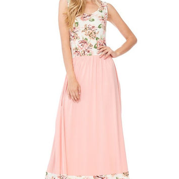 Pink Ivory Floral-Solid Sleeveless Boutique Maxi Dress!