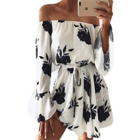 Floral Print Off Shoulder Boho Mini Dress