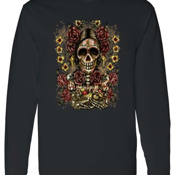 Unisex Frida Kahlo The Artist Sugar Skull Long Sleeve T-shirt