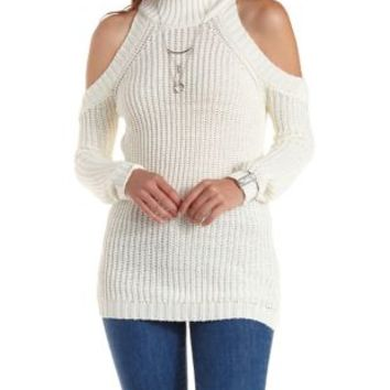 Ivory Cold Shoulder Mock Turtleneck Sweater by Charlotte Russe
