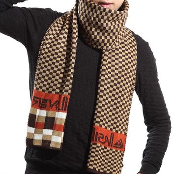 Uwback 2017 New Brand Winter Men Business Scarf Plaid Patchwork Cashmere Scarves England Knitted Thick Warm Scarf 180*34 XA297