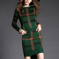 Plaid Long Sleeve Side Slit Bodycon Dress