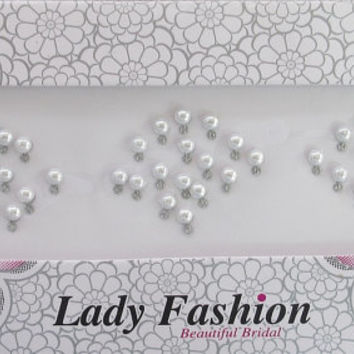 34 WHITE PEARL BINDIS With Sparkle/ Indian Bindis/ / Bindi Sticker/ Face Jewels/Bridal Head Accessory Jewelry/Top Headpiece Forehead Jewelry