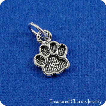 Paw Print Charm - Sterling Silver Small Paw Print Charm for Necklace or Bracelet