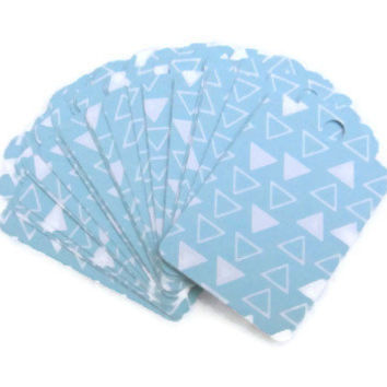 Gift Tags Blue White Triangles Geometric