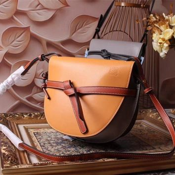 Ready Stock Loewe Women's Leather Gate Inclined Shoulder Bag #806