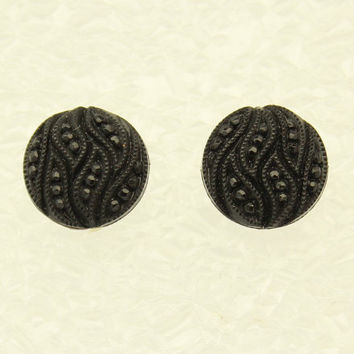 Black Knotted Button  Magnetic Earrings 15 mm