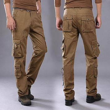 2017 Top Fashion Multi-Pocket Tactical Cargo Pants Men Combat SWAT Army Military Pants Stretch Paintball Militar Casual Trousers