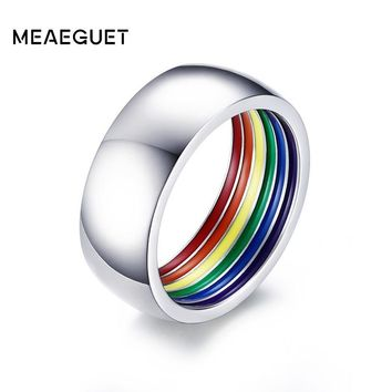 Meaeguet Inside Rainbow LGBT Ring For Men Stainless Steel Wedding Ring 8MM Wide Gay Pride Jewelry