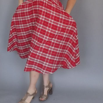 Vintage 1950's Red White Gingham Plaid Checkered Maxi Cotton Dress Sundress Small Picnic Hipster Country Folk Rockabilly Tea Dress Pin Up