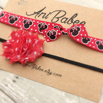Baby headband, baby headband set, shabby chic baby headband, Minnie Mouse  headband, polka dot headband, headband for girls