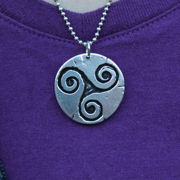 Pewter Triskele Pendant, Necklace (celtic, triple spiral, Brigid, druid)