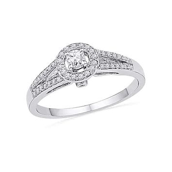 10kt White Gold Women's Round Diamond Solitaire Split-shank Bridal Wedding Engagement Ring 1/4 Cttw - FREE Shipping (US/CAN)