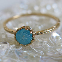 gold filled ring, crystal gold ring, stacking rings, sparkly aqua ring, crystal druzy ring, bridesmaid gift, aqua mint ring