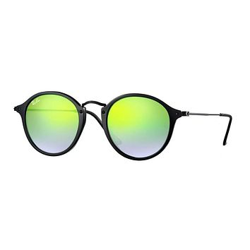 Ray Ban Round Fleck Sunglasses Black with Green Flash Mirror Gradient lenses RB2447 90