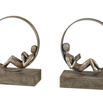 Lounging Reader Antique Bookends Set/2 by Uttermost