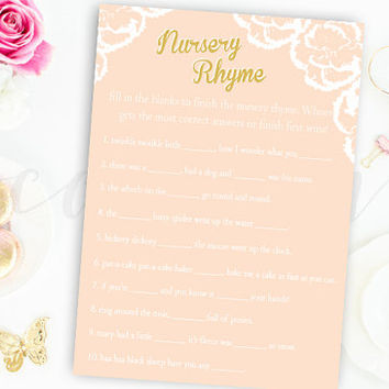 Finish the Nursery Rhyme Game Pink and Gold Flower Floral Baby Shower finish rhyme Printable Instant Download Digital Girl Baby Shower Games