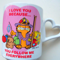 Vintage Garfield I Love You Because You Follow by WylieOwlVintage