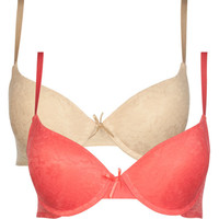2 Pack Lace Overlay Bras Coral  In Sizes