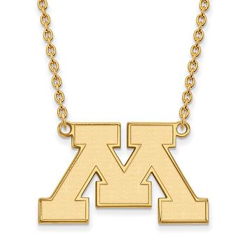 NCAA 14k Gold Plated Silver U of Minnesota Large Pendant Necklace