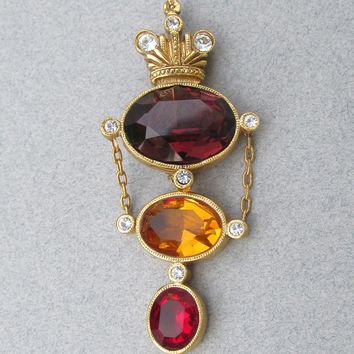 Vintage Joan Rivers Royal Crown Amethyst, Amber & Ruby Rhinestone CROWN Dangle Pin or Enhancer Pendant - New In Pouch