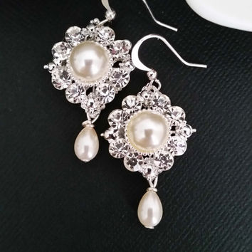 Bridal Pearl Earrings Rhinestone Dangle Wedding Earrings Statement Crystal Drop Bride Earrings Bridal Jewelry