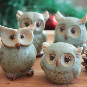 Green Brown Owl Ceramic Decoration Home Accessories  Owl Porcelain Home Decoration Cute Pottery Owl Figurine Desktop Decoration