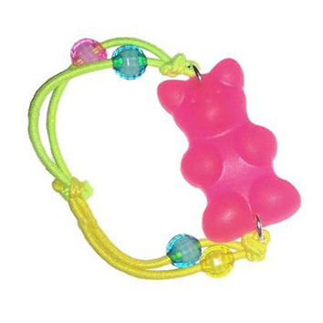 KanDi Jewelry Giant Pink Gummy Bear Hair Tie/Bracelet