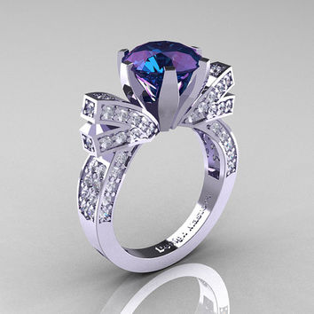 french 14k white gold 30 ct russian alexandrite diamond engagement ring wedding ring r382 - Wiccan Wedding Rings
