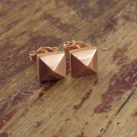 ON SALE Rose Gold Earrings 14K Rose Gold Studs 14K Gold Stud Earrings Pyramid Studs 14K Gold Earrings Pink Gold Jewelry Girlfriend Gift Wome