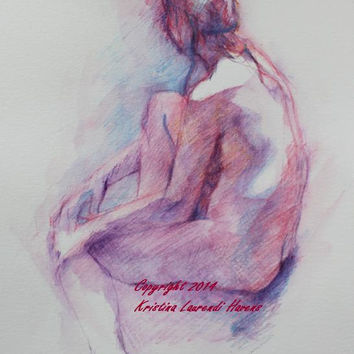 Watercolor Sketch Figure Drawing of Seated Female Nude Original Painting