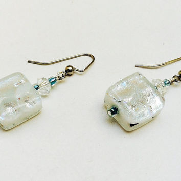 Frozen earrings, winter white earrings, white jewelry, snow, January, dangle earrings, dichroic earrings, pierced ears, ice earrings
