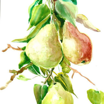 Pear art pear tree original kitchen wall art olive green red painting 12 x 9 in
