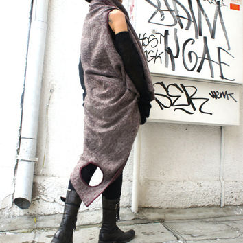 Loose Knit Top with Angora fibres / Long Sleeveless vest / Extravagant Asymmetric Tunic / Be My Valentine