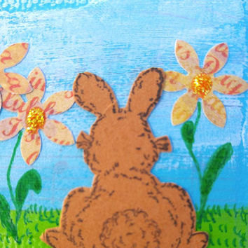 Tiny Painted Ornament with Bunny and Flowers, Mini Canvas Ornament, Easter Ornament, Spring Ornament, Original Mixed Media Artwork