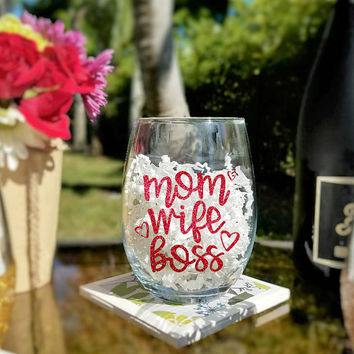 Mom Wife Boss Stemless Wine Glass, Wine Glasses For Mom, Boss Mom Large Stemless Wine Glass Gifts With Glitter Decal Options