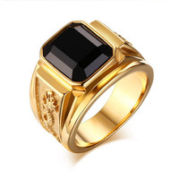 Fashion Rhinestion gold male ring big black sapphire Stainless Steel men's Jewelry 18k gold plated men ring Loong Rings for men