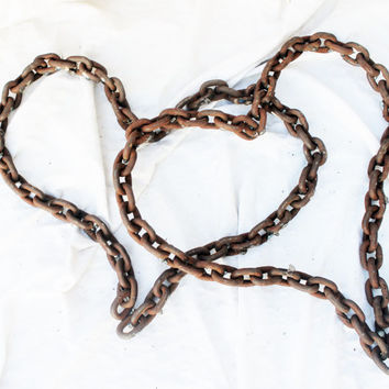 Rustic Heart Wall Art, Wedding Gift, Love by Recycled Salvage Chain Art Design