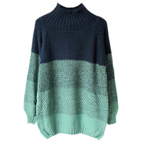 Gradient Ramp Mock Neck Knit Sweater