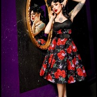 Deadly Dames Courtesan Swing Dress in Red Rose Print | Pinup Girl Clothing