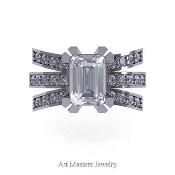 Modern Victorian 14K White Gold 1.0 Ct Emerald Cut White Sapphire Diamond Wedding Ring, Engagement Ring R344-14KWGDWS