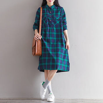 Vintage Women Casual Buttons Cotton Turn-down Neck Plaid Check Spring Autumn Knee-Length Loose Mori Girl Literature Dresses