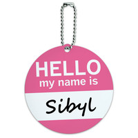 Sibyl Hello My Name Is Round ID Card Luggage Tag