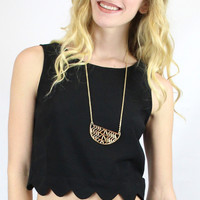Something Sweet Scallop Edge Button Back Crop Top - Black