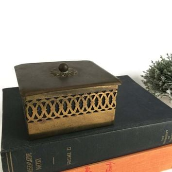 Brass Cigarette Box, Box Vintage Decorative Wood Lined, Desk Accessory, Vintage Storage, Office Storage Box, Side Table Decor