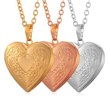 Kpop New Vintage heart Photo Frame Floating Locket Pendants Gold Color Choker Necklace Charms Jewelry Jewelry P297