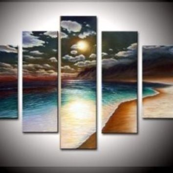 100% Hand-painted Wood Framed on the Back Artwork the Yellow Beach High Q. Wall Decor Landscape Oil Painting on Canvas 5pcs/set Mixorde